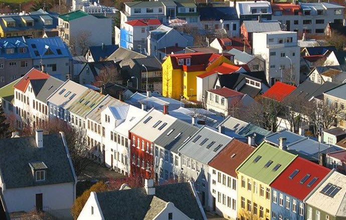 Colorful rooftops line Reykjavík by Bjørn Giesenbauer via Wikimedia Commons
